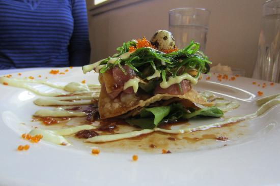 Nevados: Yes, that's a Quail Egg on the top of this fabulous stacked Ahi Tuna Appetizer