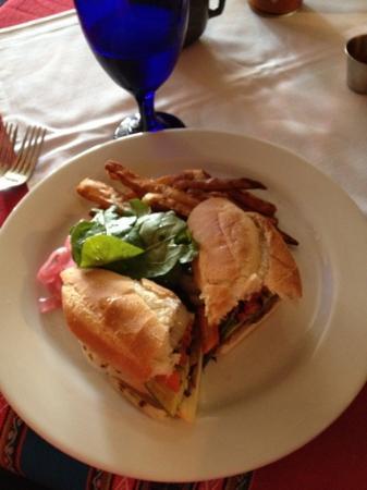 Q'ero Restaurant: skirt steak sandwich with sweet potato fries