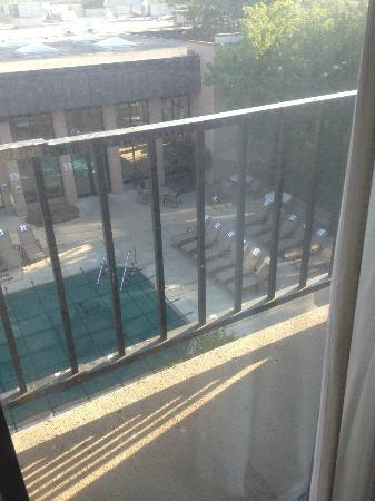 Sheraton Milwaukee Brookfield Hotel: Bird poop on railing, filthy external window (don't open the curtain!)