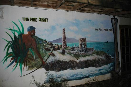 Mine Shaft Cafe: Painted on the lower part of the building
