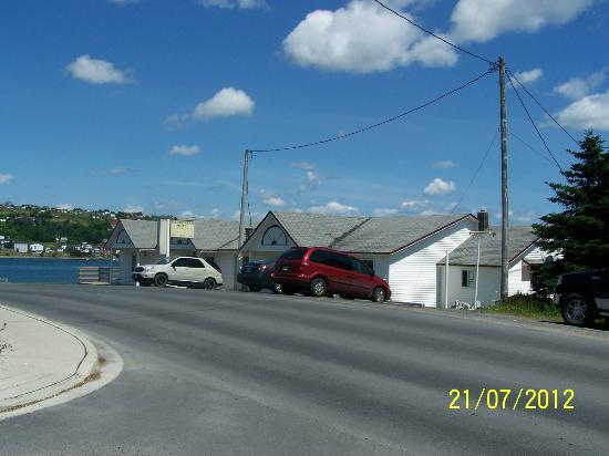 Carbonear Motel: View of the front of the motel, from the east side.