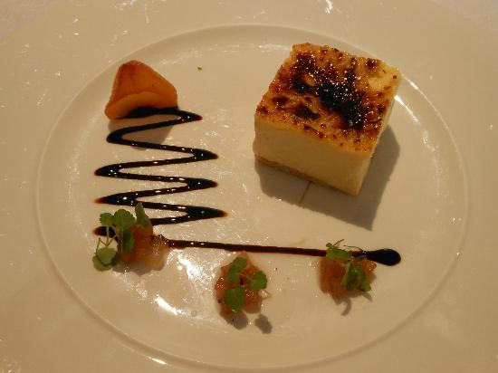 Petrus: Star anise creme brulee with liquorice poached pear