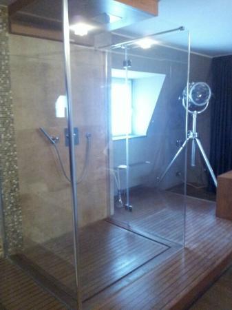 Rosenmeer Hotel & Restaurant: Offenstehende Dusche in der Suite (Superstar)