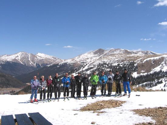 Loveland Ski Area: Our group of skiers from Scotland outside the top cabin at Loveland