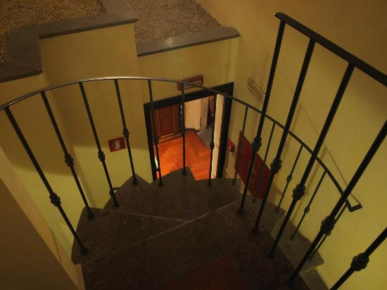 Hotel Teatro Pace: The spiral staircase to 104. Stroller often sat at bottom-little tricky with luggage