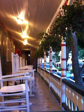 Pequot Hotel: The porch in the evening.