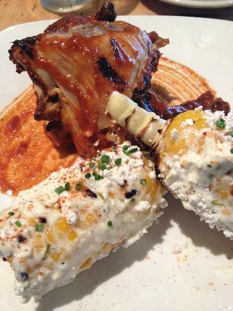 Bella Notte: peach barbeque chicken and fresh corn