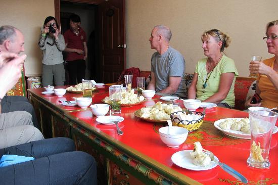 XiangGe LiLa Restaurant : Enjoying Momos ( we made them)  for lunch at Shangrila