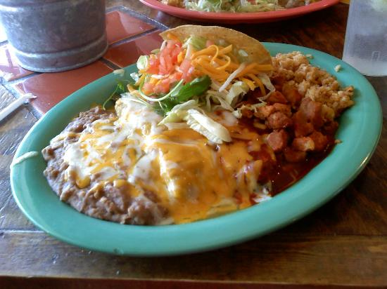 Las Cruces, NM: Combination plate: Red chile con carne, relleno, chicken taco, green enchilada.