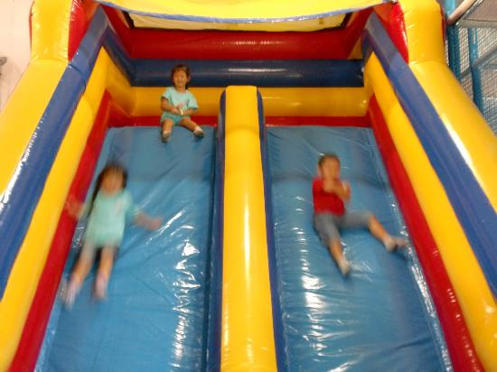 Lollipop's Playland and Cafe : Inflatable slide, Lollipop's provide general supervision in every area of the playground