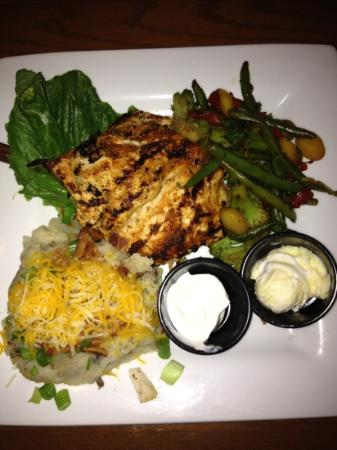 The Route Steakhouse: Blackened Grilled Chicken with loaded mashed potatoes and veggies