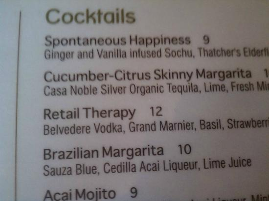 True Food Kitchen : Cocktail menu gives you an idea of their sense of humor