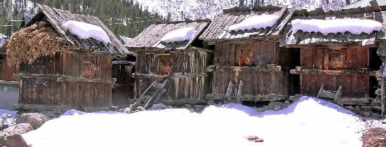 Kinnaur: Wooden Grain-storage huts in village with snow around