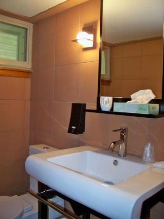 The Usonian Inn: nicely renovated bathroom (spa-like)