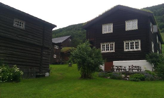 Nordre Ekre Gardshotell: Main building (right) and farm shop (left) visible.