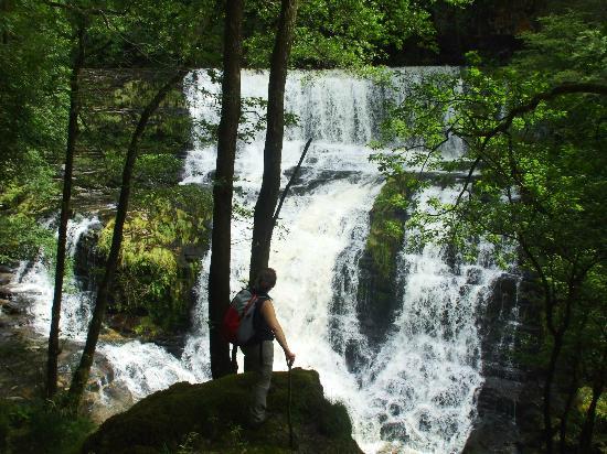 Beili Helyg Guest House: Caroline at The Clun Gwyn falls on a walk from Beili Helyg