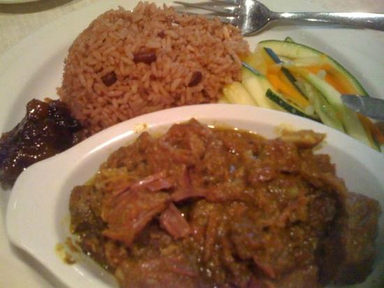 The Pelican Grill: Curried Goat, Rice and Peas