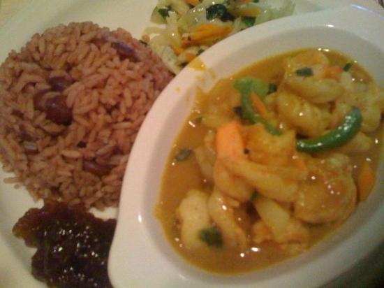 The Pelican Grill: Curried Shrimps, Rice and Peas