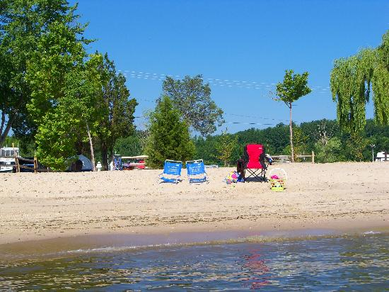 Chesapeake Beach, MD: view of our site from the beach (tent off to the left)