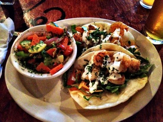 Mellow Mushroom: shrimp tacos and vegetables