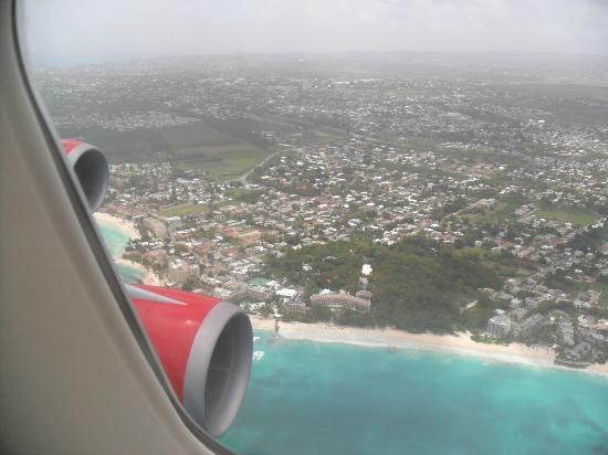 Turtle Beach by Elegant Hotels: A view of Turtle Beach as our flight comes in to land