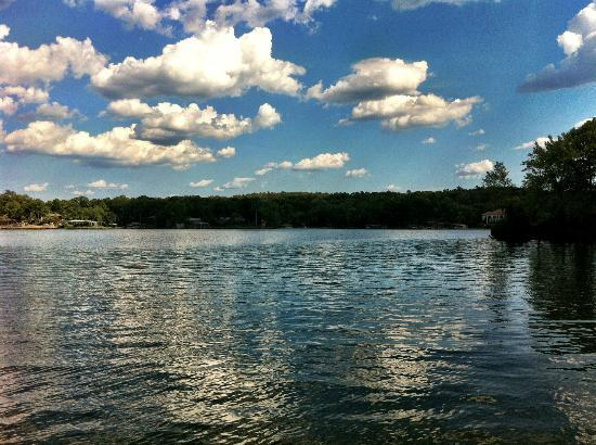 Five Points Cabins: View of Lake Hamilton from swim area