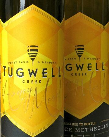 Mead Labels at Tugwell Creek Honey Farm and Meadery