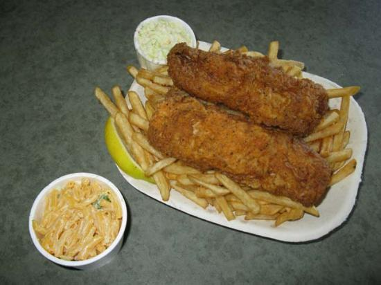 Chicken Coop: Classic Fish and Chips, with side of Macaroni Salad.