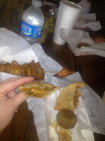 Natchitoches Alligator Park: gator kabob and crawfish meat pie