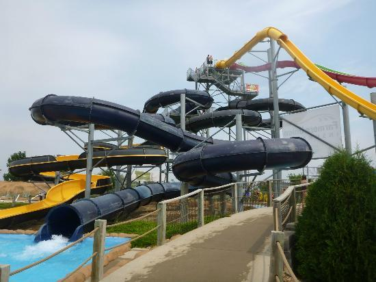Raging Rivers Waterpark: Two Tube Slides with Tower Slides in the Background