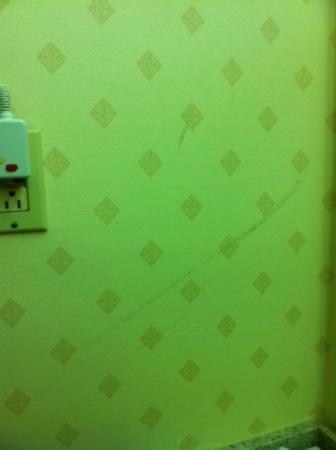 Days Inn Newark/Wilmington: Dirty wall above sink outside of bathroom