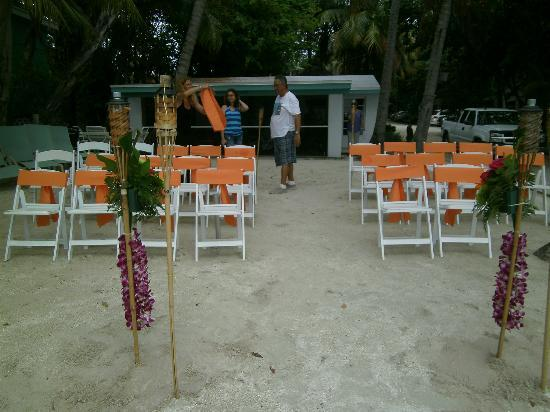 The Pelican: chairs set up for the ceremony
