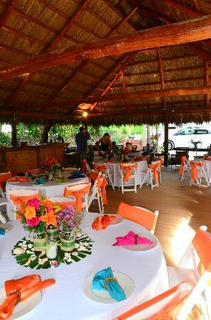 The Pelican: wedding set up inside the chiki