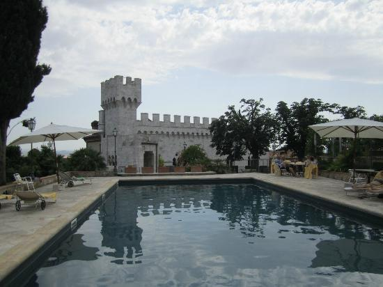 Castello delle Serre: View of the castle from the pool