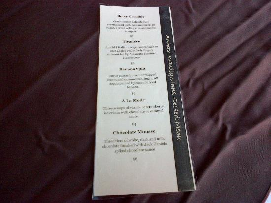 Amherst Wandlyn Inn: Dessert Menu!