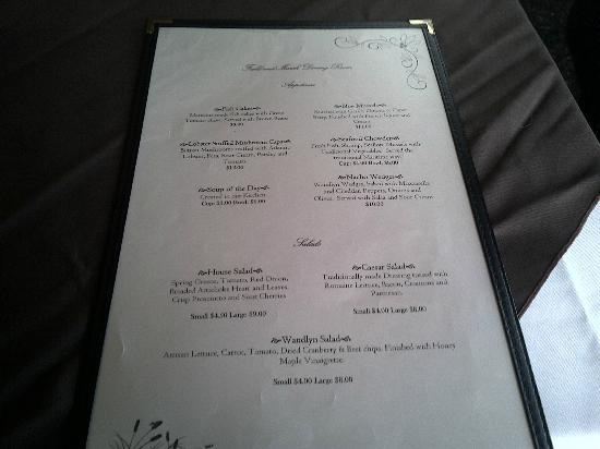 Amherst Wandlyn Inn: Dinner Menu