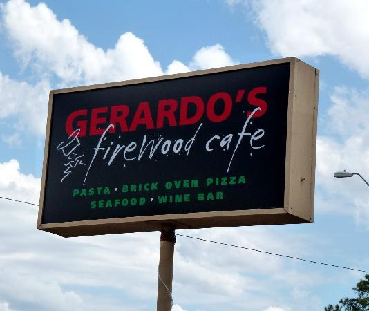 Gerardo's Firewood Cafe: Sign visible on left side of 87, heading north