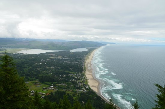 Coast Cabins: Looking down on Manzanita from the mountain