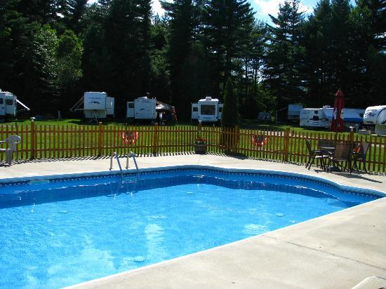 Cedarwood Resort : Pool and seasonal sites behind