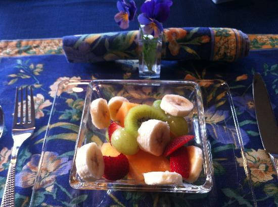 A Channel View B&B: Breakfast - fruit salad and pancakes to come!