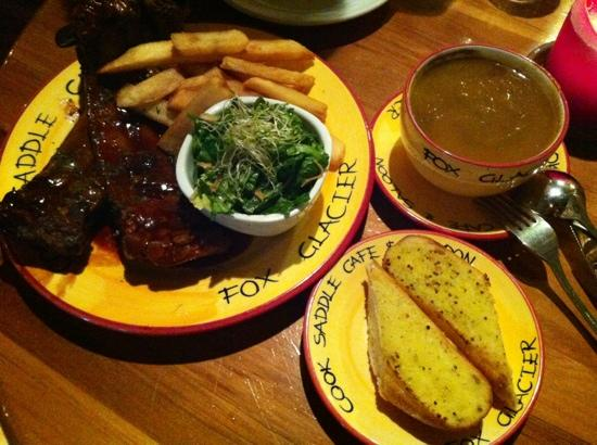 Cook Saddle Cafe & Saloon : Double ribs with fries/salad and Pumpkin Soup.