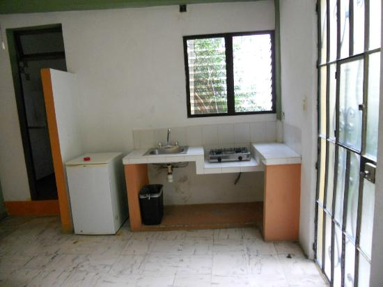 Las Arecas: Small kitchen in room with 2 burner stove, sink & mini fridge.