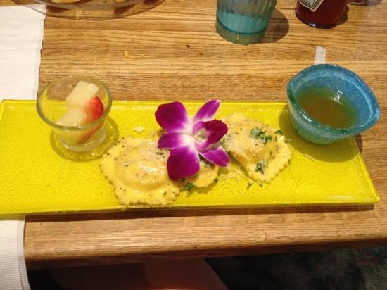 Shucker's Pier 13: andouille sausage and shrimp ravioli