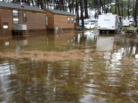 Cherrystone Family Camping Resort: Flooded camp ground due to drain not cleaned