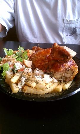 Sonio's Cafe : Rotisserie Chicken with Greek Fries and Salad