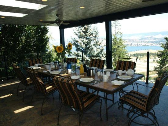 A View of the Lake: Patio set up for breakfast