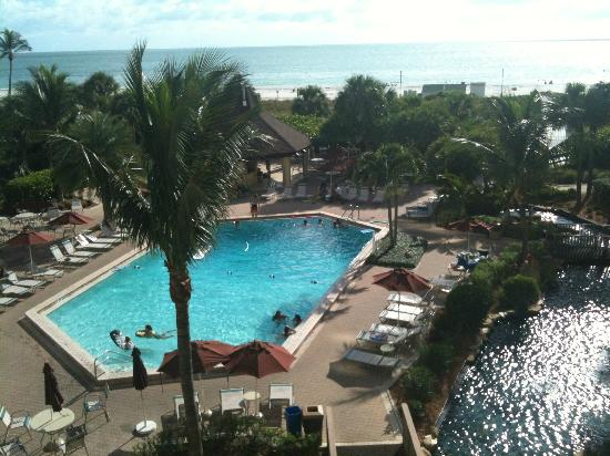 The Charter Club of Marco Beach: pool and beach view from unit 303