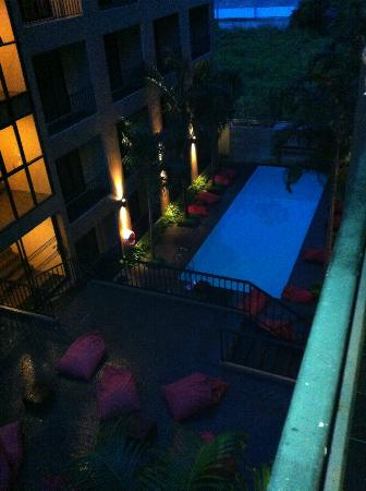 The Cottage Suvarnabhumi : View of pool from Superior Room balcony