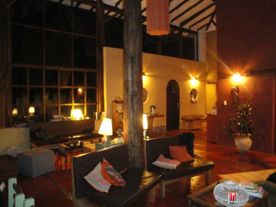 The Green House Peru: the lovely living/dining area at night/magical!!