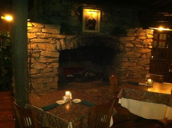 Fryemont Inn Dining Room: beautiful dining room fireplace sets the tone!